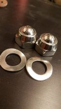 POLISHED STAINLESS STEEL ENGINE BAR DOMED NUTS AND WASHERS